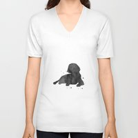 beagle V-neck T-shirts featuring Beagle by Carma Zoe