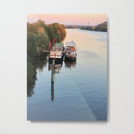 Boats on th Seine Metal Print