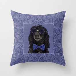 Poodle Dog with glasses and bow tie Throw Pillow