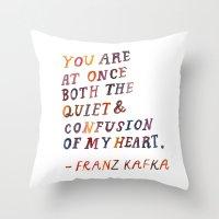kafka Throw Pillows featuring Kafka by Mei Lee
