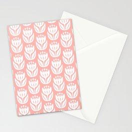 Mid Century Modern Flower Pattern Peach 333 Stationery Cards