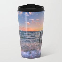 Rushing Waves at Sunset Travel Mug