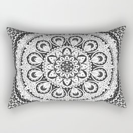Black and White Elegant Mandala Design Rectangular Pillow