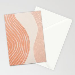 Abstract painting 7 - lines, shapes and dots in orange peach and beige tones by Ingrid Beddoes Stationery Cards