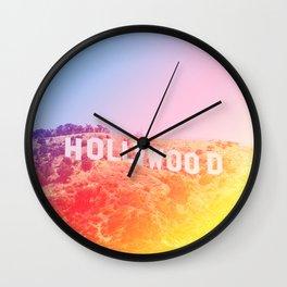Colorful Hollywood Sign  Wall Clock