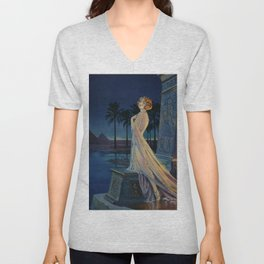Melody of Ancient Egypt Art Deco romantic female figure by the River Nile painting by Henry Clive Unisex V-Neck