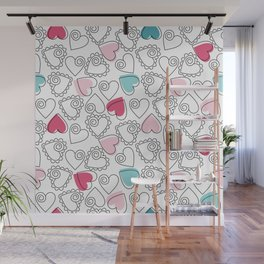 Valentine Hearts Pattern White Wall Mural