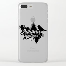 Autumn Greetings Thanksgiving Nature Clear iPhone Case