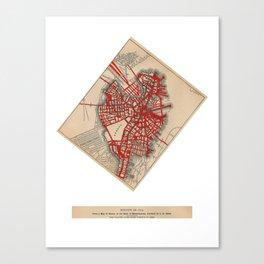 Boston Valentine, Anatomic Heart/Altered Map of Boston Canvas Print