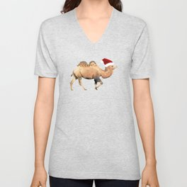 Christmas Camel With Santa Hat Unisex V-Neck