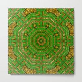 wonderful mandala of green and golden love Metal Print
