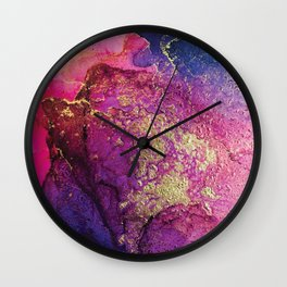 Pink, Gold and Blue Explosion Painting Wall Clock