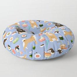Shiba Inu noodles pho food cute dog art sushi dogs pet portrait pattern Floor Pillow