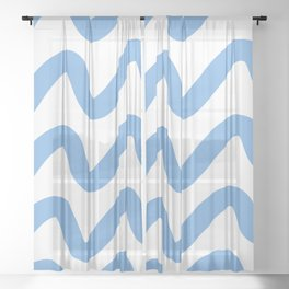 Squiggly Curvy Lines in Blue Sheer Curtain