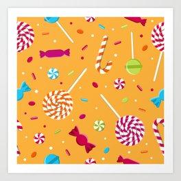 Orange Candy Pattern Gift Lollipop Art Print