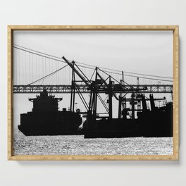 Metallic Architectures Docked Cargo Ships Serving Tray