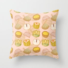 Dimsum everywhere! [peach] Throw Pillow