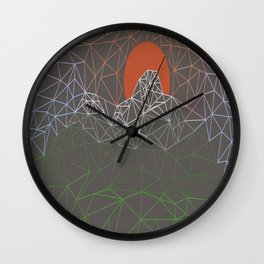 sun line lighs nets green orange Geometric Mountains Wall Clock
