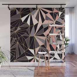 Stylish Art Deco Geometric Pattern - Black, Coral, Gold #abstract #pattern Wall Mural
