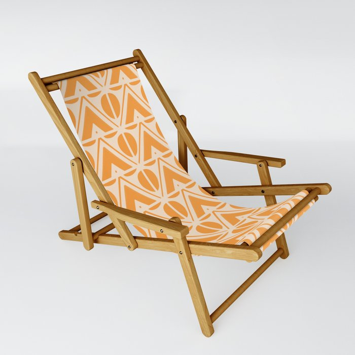 Sun & Mountains Orange Mid Century Modern Shapes Sling Chair