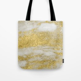 Marble - Glittery Gold Marble and White Pattern Tote Bag
