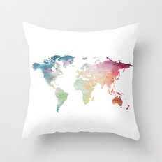Painted World Map Throw Pillow