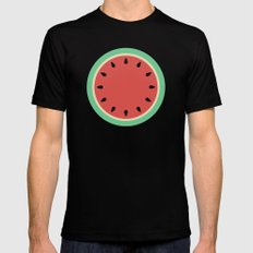 Watermelon Clock Triptych MEDIUM Black Mens Fitted Tee