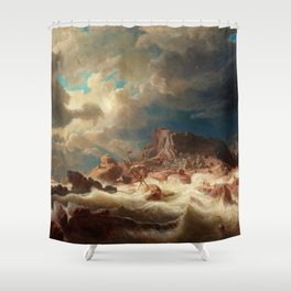 Marcus Larson - Stormy Sea With Ship Wreck Shower Curtain