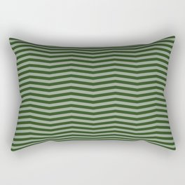 Dark Forest Green Chevron Zigzag Stripes Rectangular Pillow