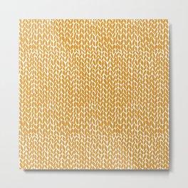 Hand Knit Orange Metal Print