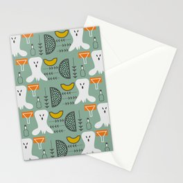 Mid-century spooky pattern Stationery Cards
