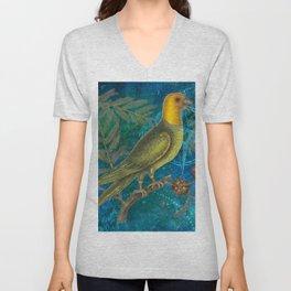 Carolina Parakeet with Cypress, Antique Natural History and Botanical Unisex V-Neck