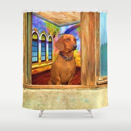Dachshund Painting by Liane Wright Shower Curtain