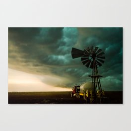 Pure Oklahoma - Windmill, Truck and Storm on Great Plains Canvas Print