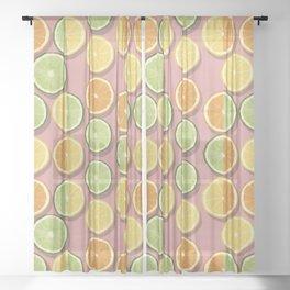 Midcentury modern citrus slices.  Sheer Curtain