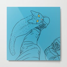 Everything I know I learned from my cat (blue) Metal Print