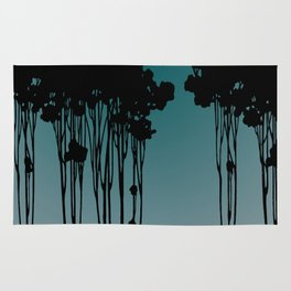Forest Silhouette Blue by Seasons K Designs for Salty Raven Rug