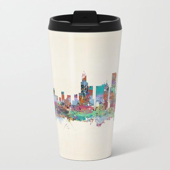 Chicago Illinois skyline Metal Travel Mug