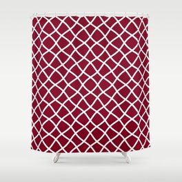 Dark red and white curved grid pattern Shower Curtain