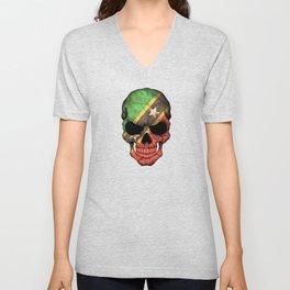 Dark Skull with Flag of Saint Kitts Unisex V-Neck