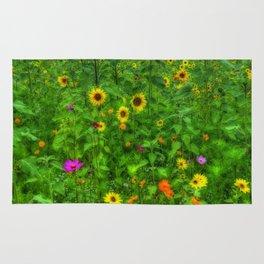 Colorful Field of Wildflowers Rug