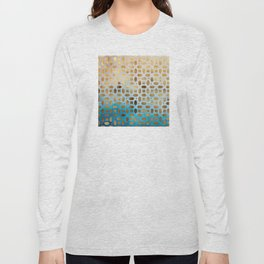 Exotic Gold Moroccan Geometric Pattern on Blue Background Long Sleeve T-shirt
