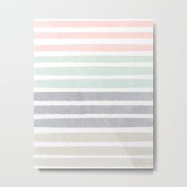 Huntley - striped gender neutral nursery baby decor trendy pattern art Metal Print