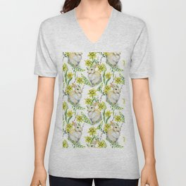 Spring yellow green watercolor daffodil rabbit pattern Unisex V-Neck