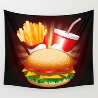 hamburger Wall Tapestries featuring Fast Food Hamburger Fries and Drink by BluedarkArt