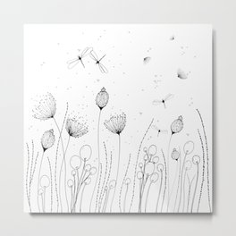 Floral with Lines and Dots Metal Print