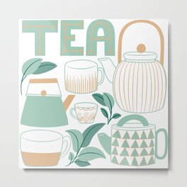 Mint Green And Tan Teapots and Mugs Metal Print