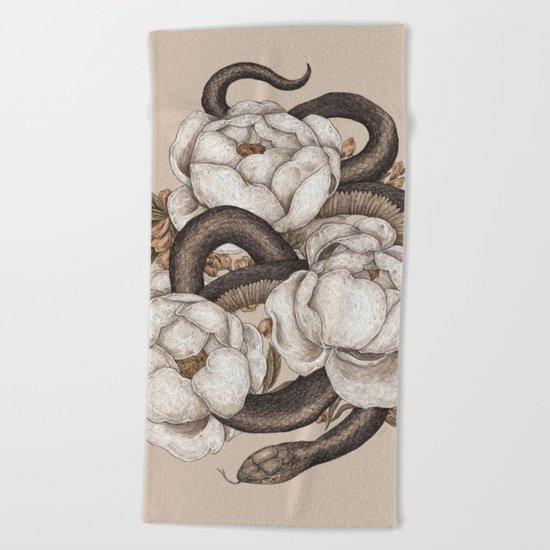 Snake and Peonies Beach Towel