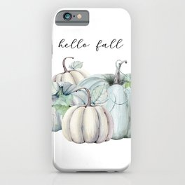 Hello Fall blue pumpkin iPhone Case