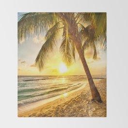 Beach - Palm Trees - Ocean - Shore - Sand - Nature - Sun Throw Blanket